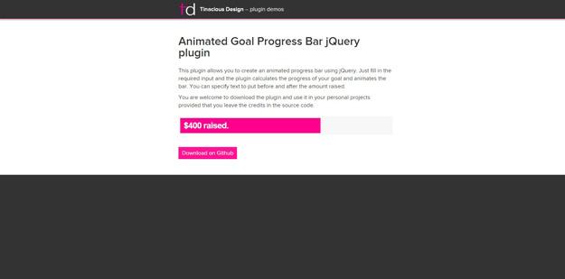 Animated Goal Progress Bar jQuery plugin