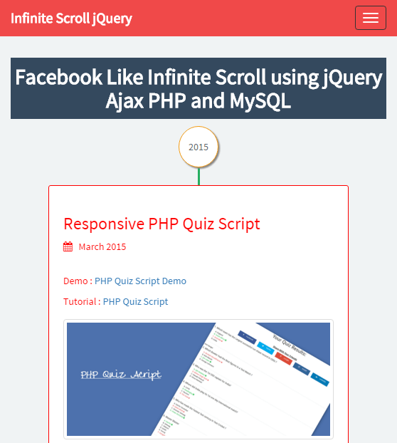 Facebook Like Infinite Scroll Using jQuery