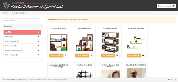 JQuery XML Product Showcase   Quote Cart