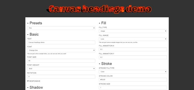 canvas headings