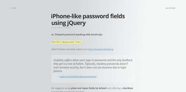 iPhone like password fields using jQuery