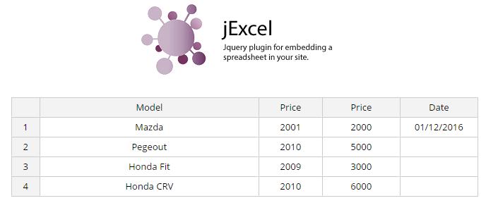 jExcel
