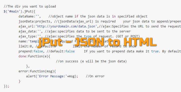 jPut - JSON to HTML