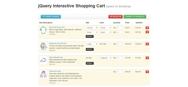 jQuery Interactive Shopping Cart