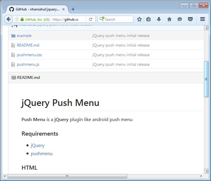 jQuery PushMenu