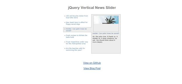 jQuery Vertical News Slider