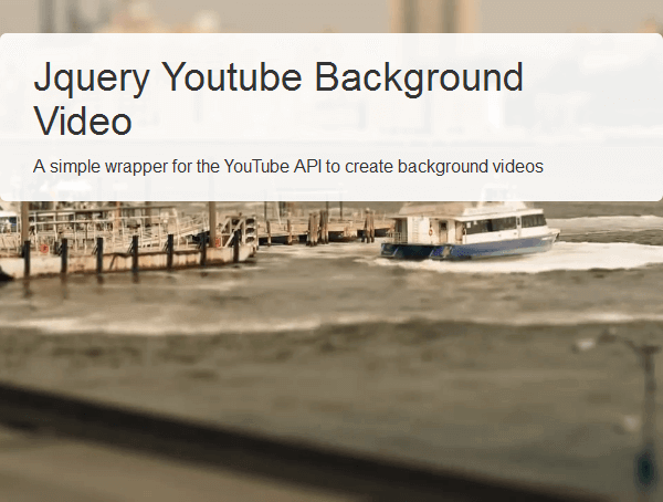 jQuery Youtube Background