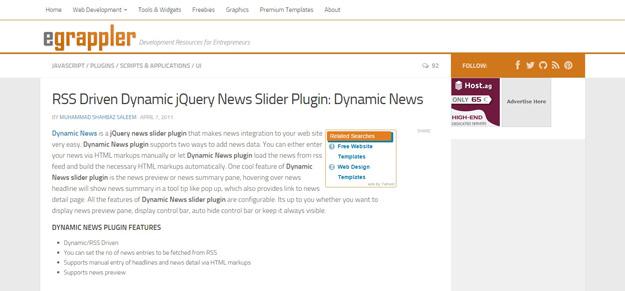 jQuery dynamic news slider plugin EGrappler