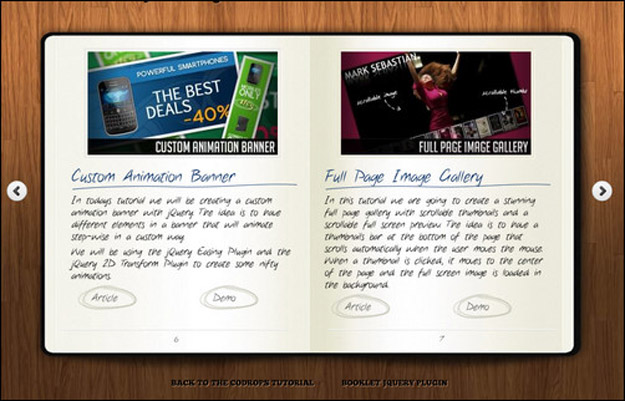 jquery notebook page flip animation