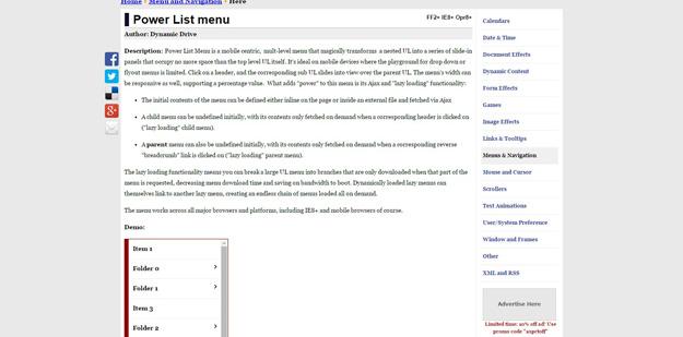 power list menu